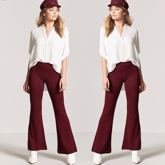 251f0ab0565 Forever 21 Pants - FOREVER 21 RED CHEVRON KNIT BELL BOTTOM FLAIR PANT